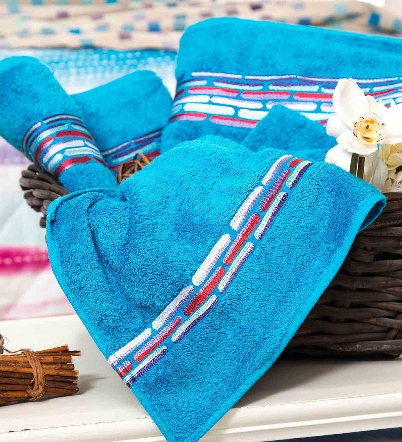 Maspar Blue 100% Cotton 16 x 28 Inch Waltz Bequiling Print Hand Towel Set - Set of 2