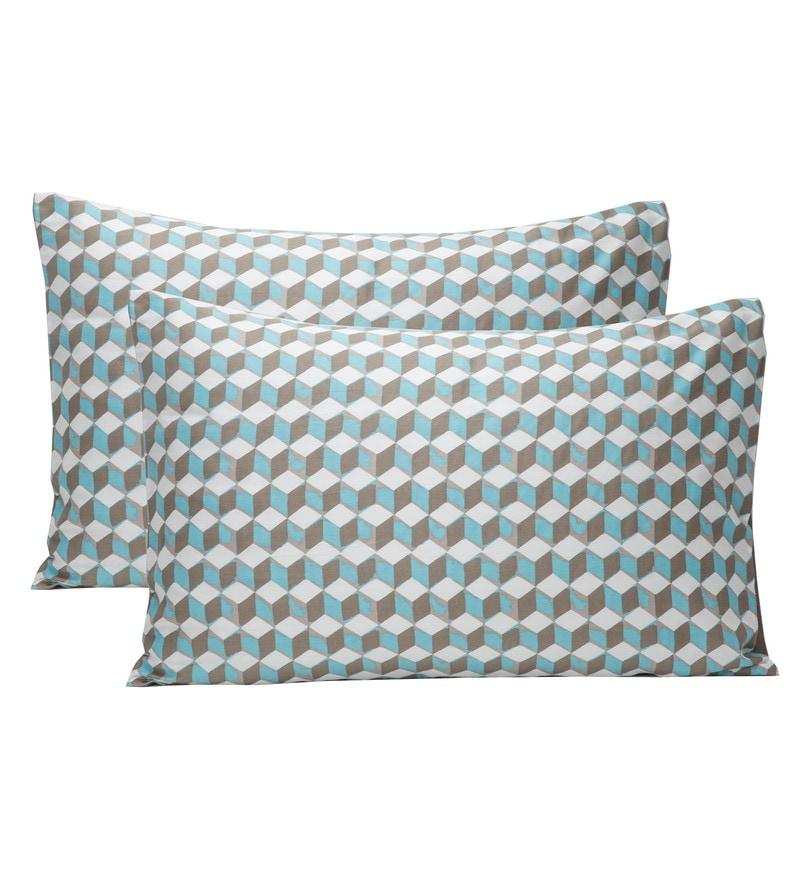 Maspar Blue 100% Cotton 20 x 30 Inch Clarissa Mirage Large Pillow Case - Set of 2