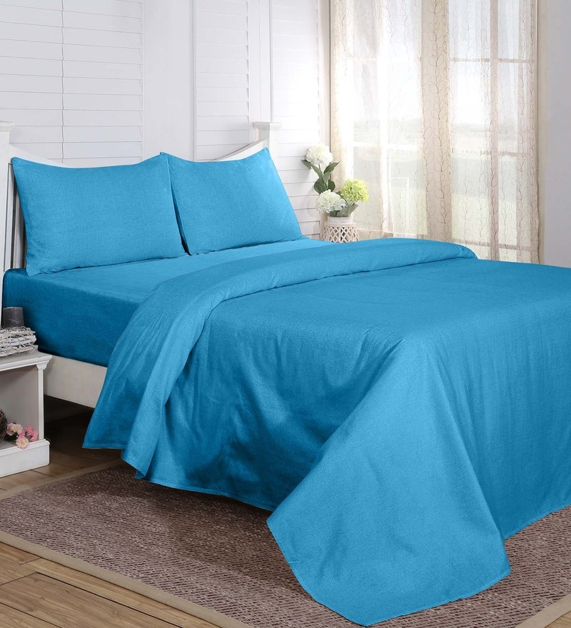 Maspar Blue 100% Cotton 60 x 90 Inch Carnival Prime Single Bed Sheet with 1 Pillow Cover - Set of 2