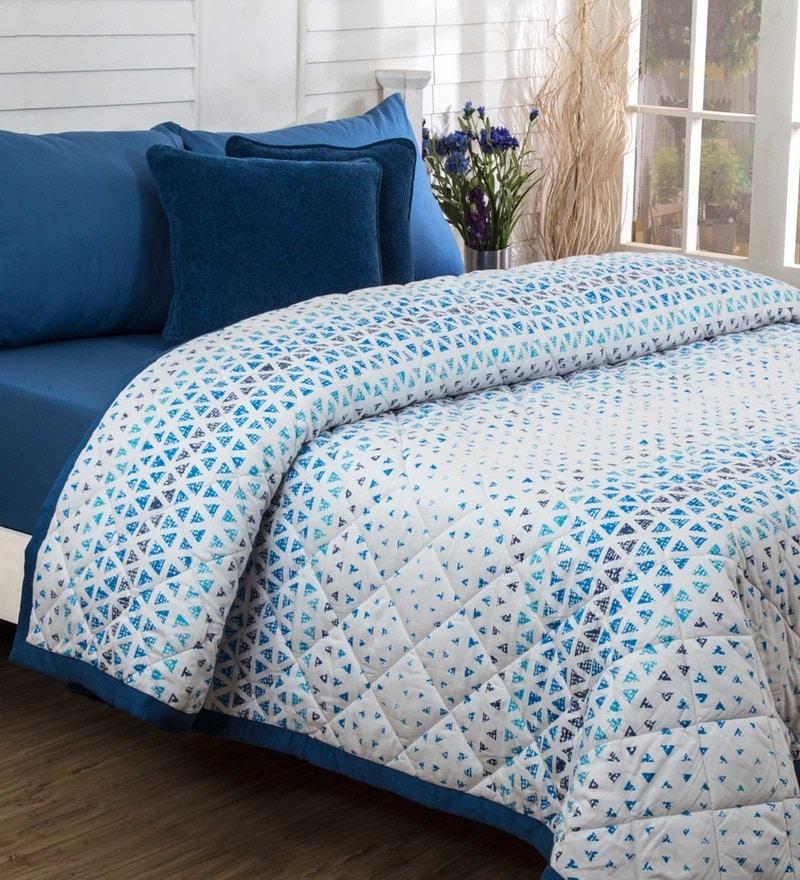 Maspar Blue 100% Cotton 60 x 98 Inch Bloom Single Quilt