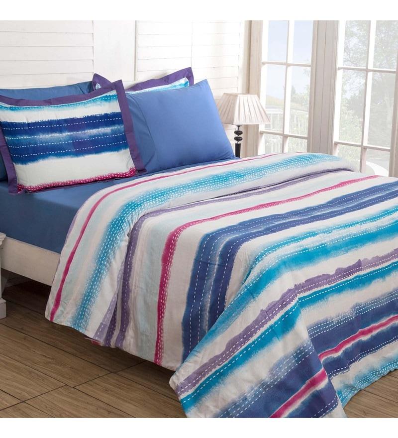 Maspar Multicolour 100% Cotton 88 x 60 Inch Waltz Single Duvet Cover withPillow Cover