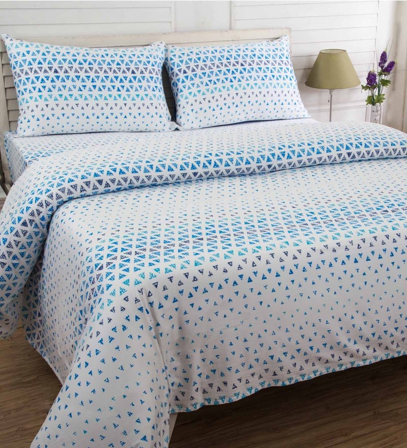 Blue 100% Cotton 90 x 108 Inch Bloom Double Bed Sheet - Set of 3 by Maspar
