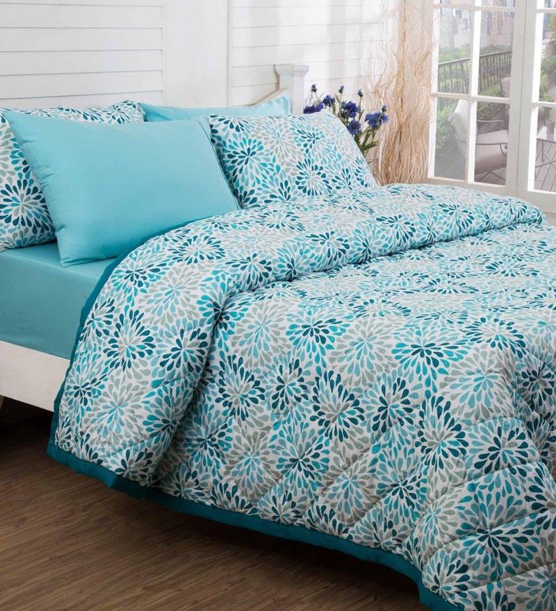 Maspar Blue 100% Cotton 98 x 102 Inch Bloom Double Quilt