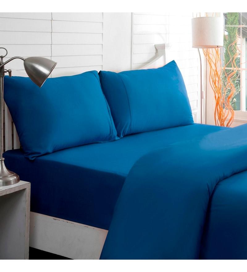 Blue Cotton King Size Bed Sheet - Set of 3 by Maspar