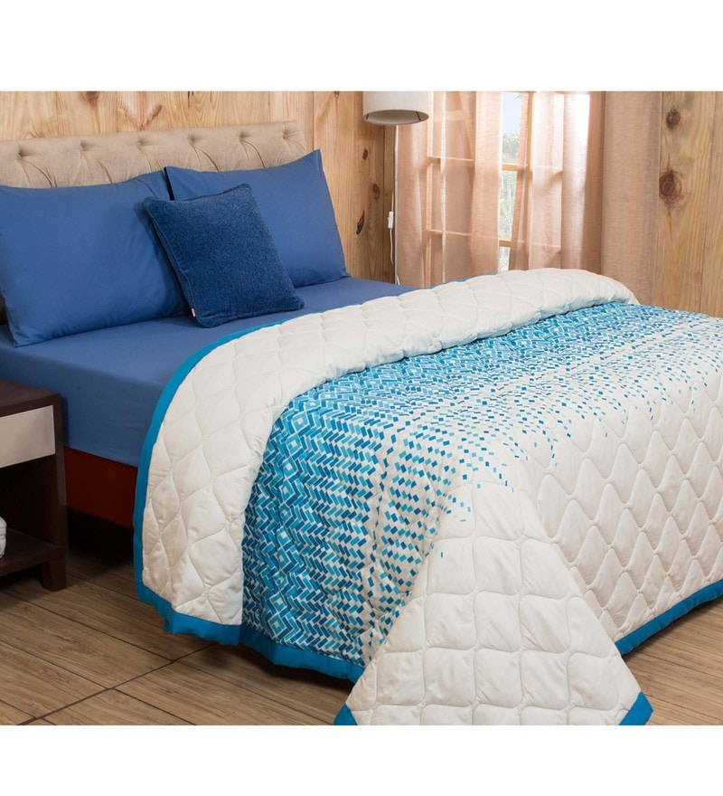Maspar Blue Cotton And Polyester 102 x 90 Inch Clarissa Winsome Double Quilt