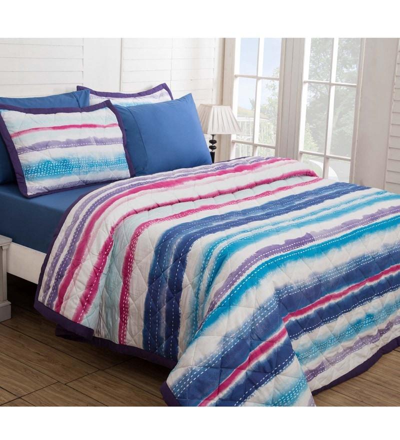 Maspar Blue Cotton And Polyester 102 x 98 Inch Waltz Double Quilt
