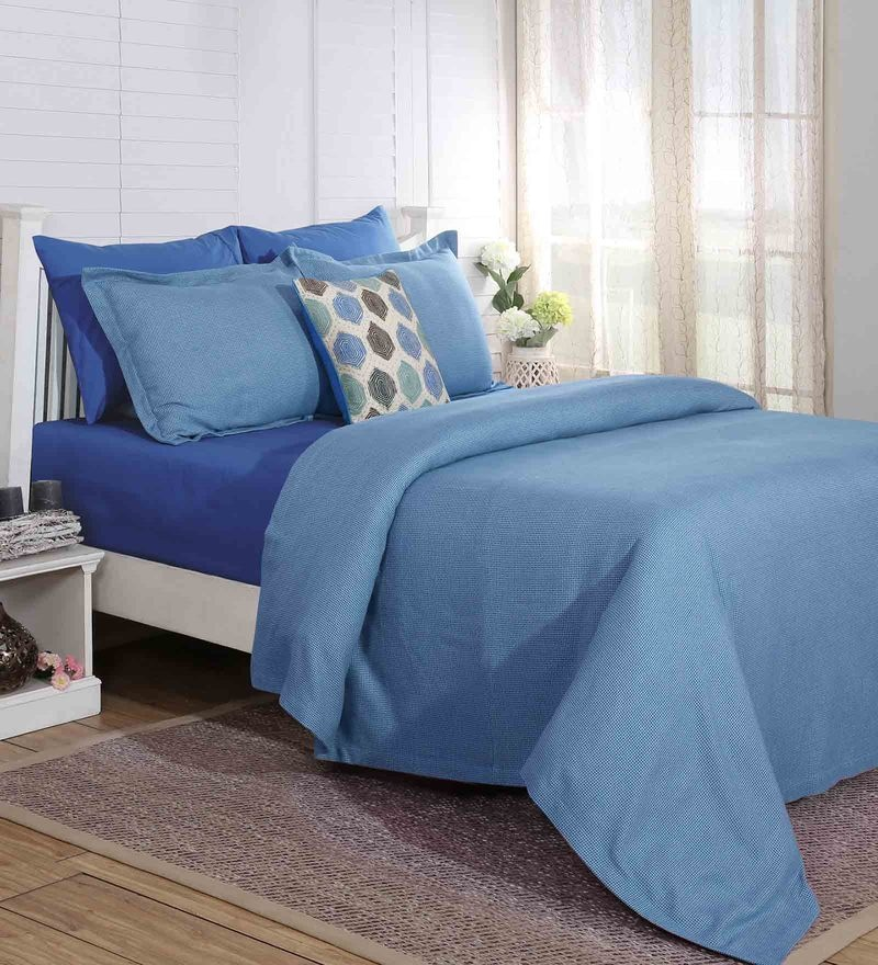 Blue Cotton And Viscose 108 x 90 Inch Carnival Prime Double Bed Cover by Maspar