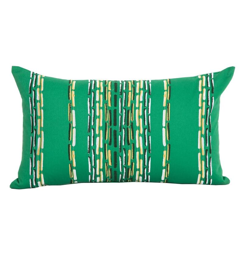 Maspar Green 100% Cotton 14 x 24 Inch Waltz Bequiling Emb Medium Cushion Cover