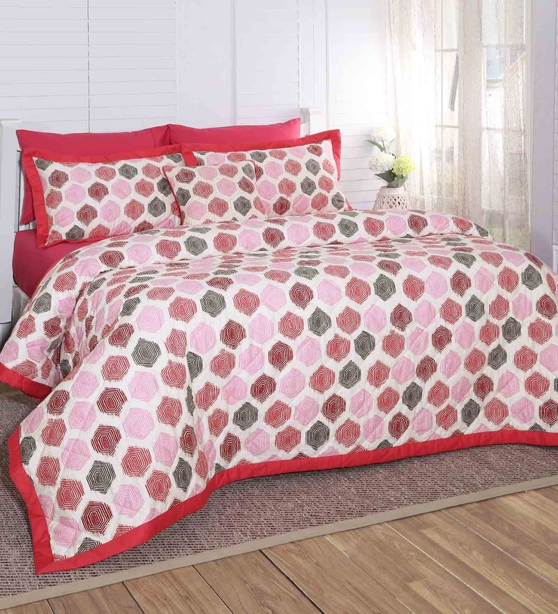 Red 100% Cotton 102 x 90 Inch Carnival Prime Double Quilt by Maspar
