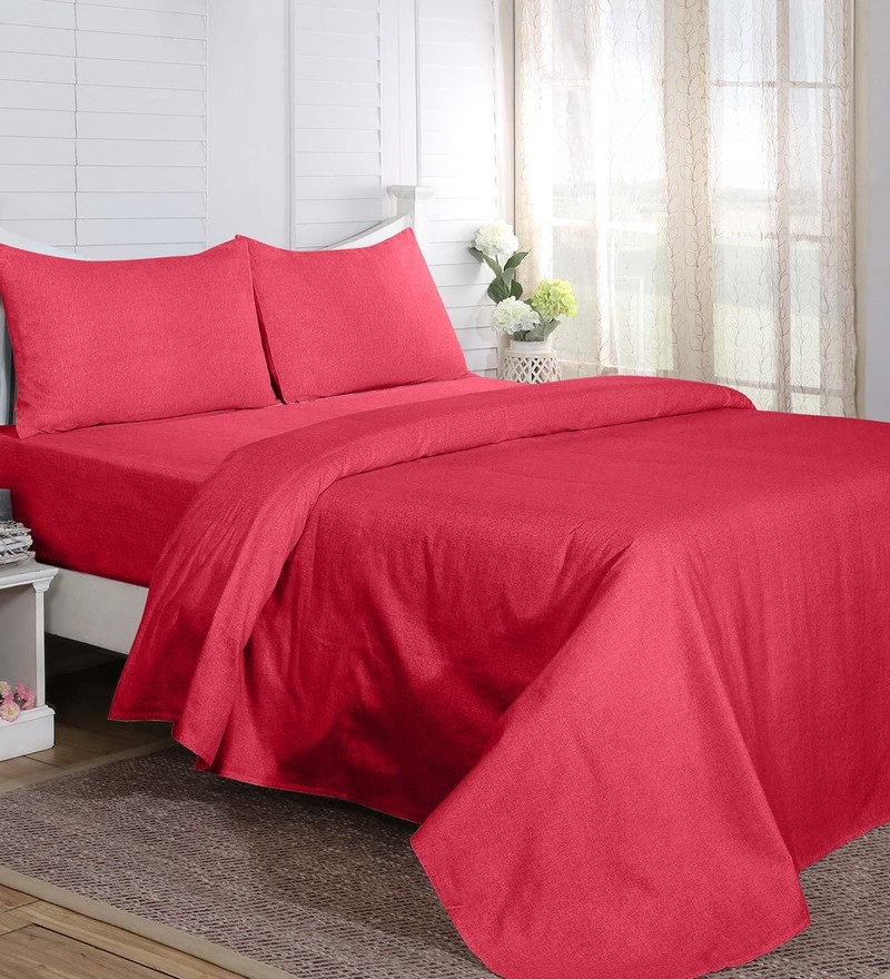 Red 100% Cotton 108 x 90 Inch Carnival Prime Double Bed Sheet - Set of 3 by Maspar