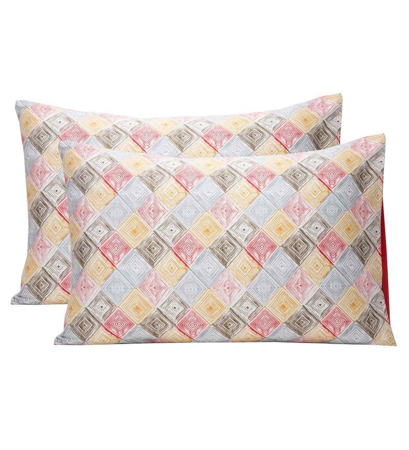 Maspar Multicolour 100% Cotton 20 x 30 Inch Clarissa Bricky Large Pillow Case - Set of 2