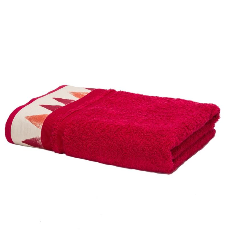 Maspar Red 100% Cotton 33 x 63 Inch Spring Solitaire Exotica Print Extra Large Bath Towel