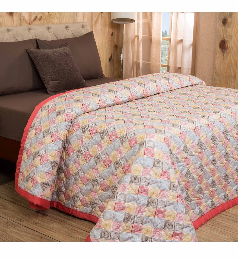 Maspar Red Cotton And Polyester 102 x 90 Inch Clarissa Bricky Double Quilt Set - Set of 7