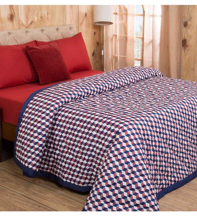 Maspar Red Cotton And Polyester 102 x 90 Inch Clarissa Mirage Double Quilt Set - Set of 7