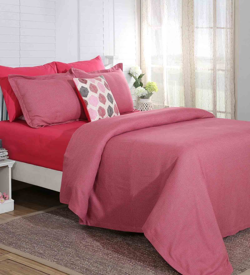 Red Cotton And Viscose 60 x 90 Inch Carnival Prime Single Bed Cover by Maspar