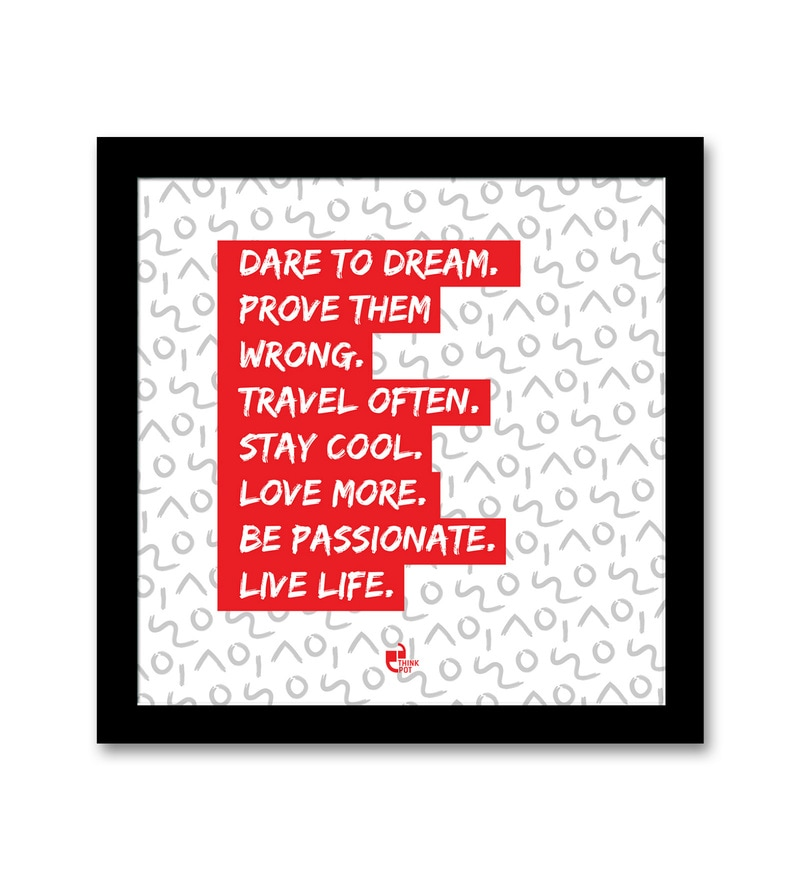 Matte 8.5 x 0.5 x 8.5 Inch Dare to dream, live life Black Square Framed Poster by Thinkpot