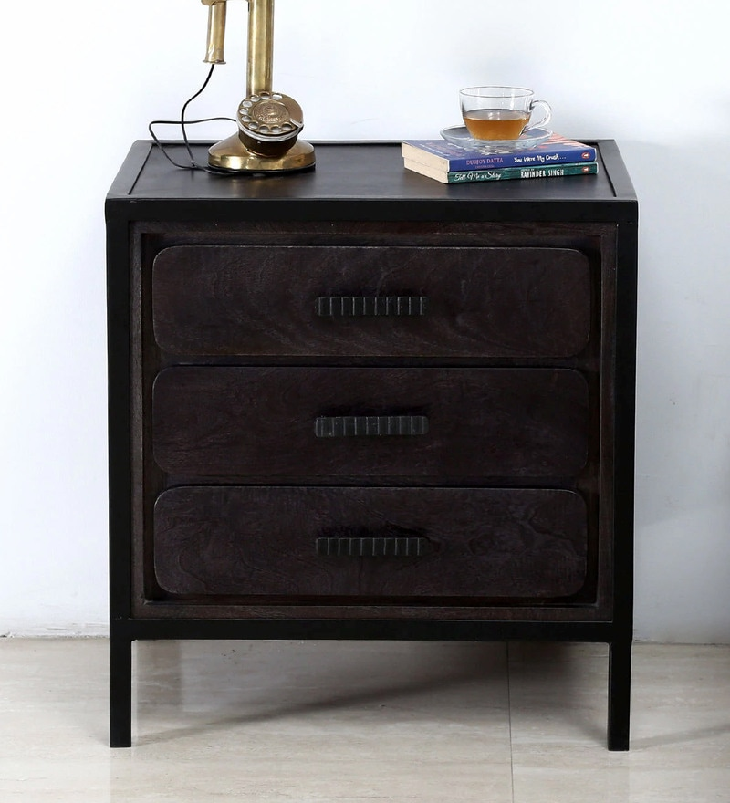 Mayak Bedside Table in Charcoal Grey Finish by Bohemiana