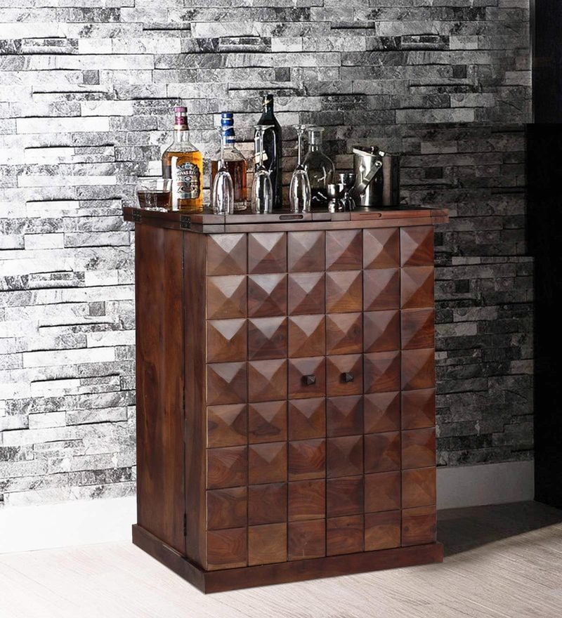 Mayville Large Bar Cabinet in Provincial Teak Finish by Woodsworth