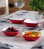 Machi Arena Red Melamine 300 ML Snack Bowl - Set Of 4