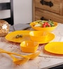 Glance Golden Yellow Melamine Square Dinner Set - Set of 32 by Machi