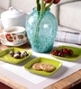 Machi Munchies Green Melamine Square Snack Plate - Set Of 6
