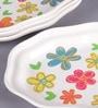 Machi Oval Multicolour Melamine Snack Plate - Set Of 4