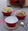 Machi Red Melamine 350 ML Snack Bowls - Set of 3