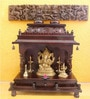 Madhurya Brown Teak Wood Pooja Mantap