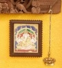 Madhurya Multicolour Gold Plated Vinayaka Framed Tanjore Painting