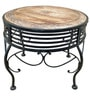 Mango Wood & Wrought Iron Round Coffee Table by Saaga