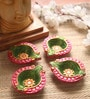 Multicolour Clay Hand Painted Diwali Diya - Set of 4 by Manomay Kreations