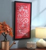 Manomay Kreations Red Canvas Women Grinding Grains Framed Warli Painting