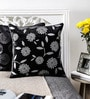 Black Duppioni 16 x 16 Inch Floral Cushion Cover by Mapa Home Care