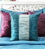 Mapa Home Care Blue Duppioni 16 x 16 Inch Color Block Textured Printed Stylish Cushion Cover