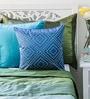 Mapa Home Care Blue Duppioni 16 x 16 Inch Studded Work Cushion Cover