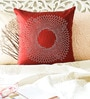 Dark Red Duppioni 16 x 16 Inch Studed Work Cushion Cover by Mapa Home Care