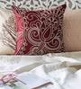 Mapa Home Care Maroon Duppioni 16 x 16 Inch Silk Embroidered Cushion Cover