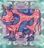 Mapa Home Care Multicolor Duppioni 16 x 16 Inch Ethnic Cow Cushion Cover