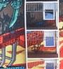 Mapa Home Care Multicolor Duppioni 16 x 16 Inch Graffiti Apartment Cushion Cover