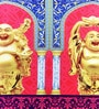 Mapa Home Care Multicolor Duppioni 16 x 16 Inch Printed Pair of Laughing Buddha Cushion Cover
