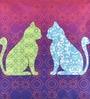 Mapa Home Care Multicolour Duppioni 16 x 16 Inch Cat Silhouette Cushion Cover