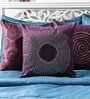 Purple Duppioni 16 x 16 Inch Studed Work Cushion Cover by Mapa Home Care