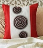 Mapa Home Care Red, White & Grey Duppioni 16 x 16 Inch Textured Cushion Cover