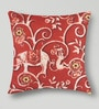 Mapa Home Care Red Duppioni 16 x 16 Inch Filigree Cushion Cover