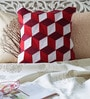 Red Duppioni 16 x 16 Inch Patchwork Cushion Cover by Mapa Home Care