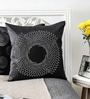 Studed Work Black Duppioni 16 x 16 Inch Cushion Cover by Mapa Home Care