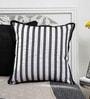 Mapa Home Care White & Black Duppioni 16 x 16 Inch Sequined Work Striped Cushion Cover