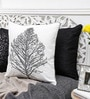 White & Grey Cotton 16 x 16 Inch Embroidered Tree Cushion Cover by Mapa Home Care