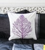 White & Lavender Cotton 16 x 16 Inch Embroidered Tree Cushion Cover by Mapa Home Care
