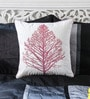 White & Pink Cotton 16 x 16 Inch Embroidered Tree Cushion Cover by Mapa Home Care